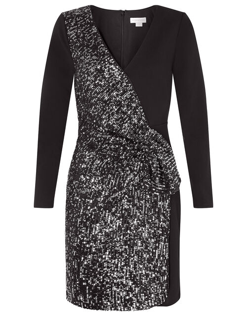 Ava Sequin Stretch Wrap Dress, Black (BLACK), large