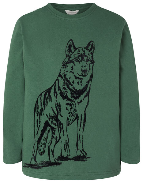 Wolf Print Long Sleeve T-Shirt in Organic Cotton Green, Green (GREEN), large