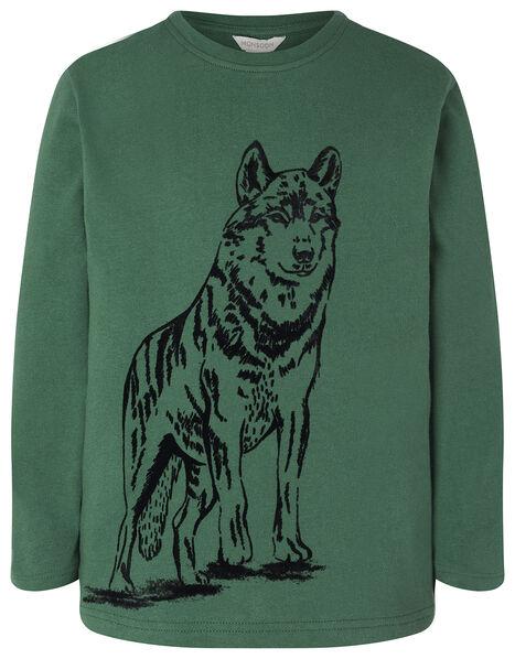 Wolf Print Long Sleeve T-Shirt in Organic Cotton Green, Green (GREEN), large