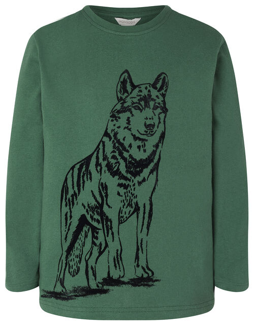 Wolf Print Long Sleeve T-Shirt in Organic Cotton, Green (GREEN), large