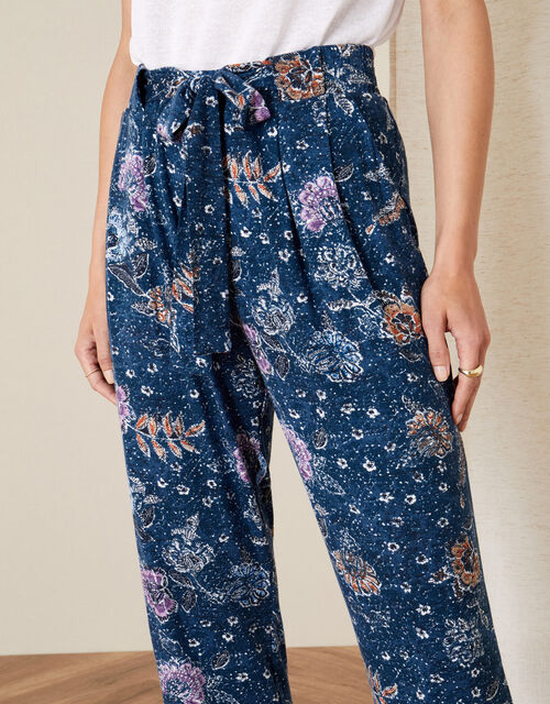 Floral Belted Jersey Trousers, Blue (NAVY), large