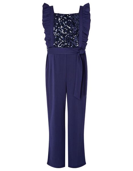 Sequin Frill Jumpsuit Blue, Blue (NAVY), large