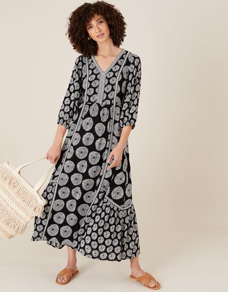 Ella Circle Print Midi Dress Black, Black (BLACK), large