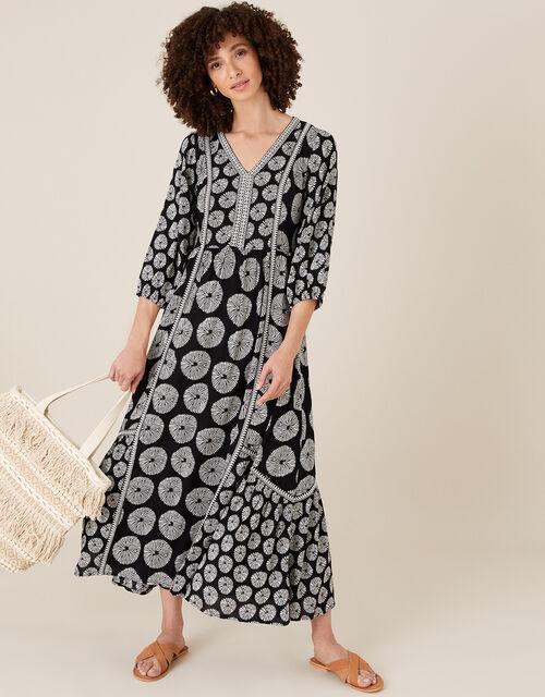 ARTISAN STUDIO Ella Circle Print Dress, Black (BLACK), large