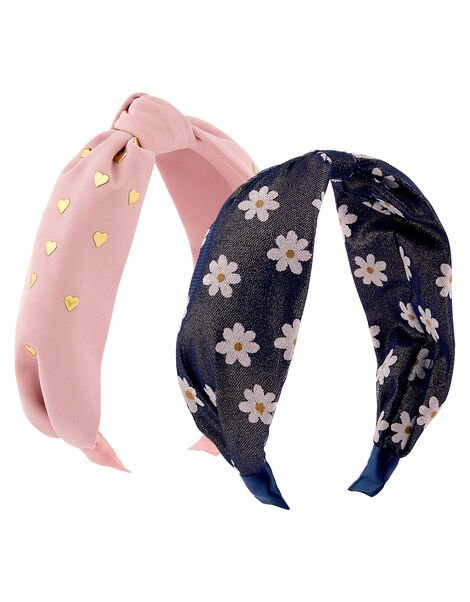 Heart and Daisy Knot Headband Set, , large