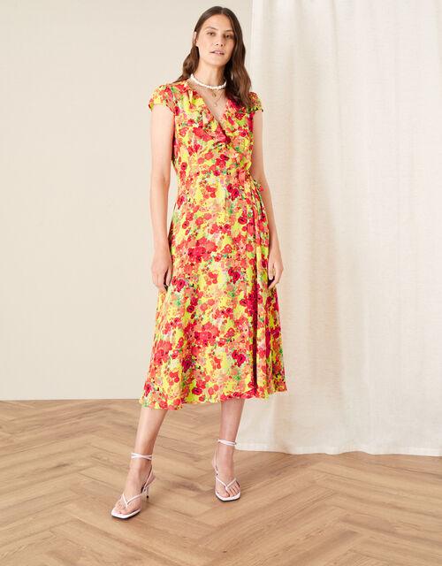 Jocelyn Printed Wrap Dress, Yellow (YELLOW), large