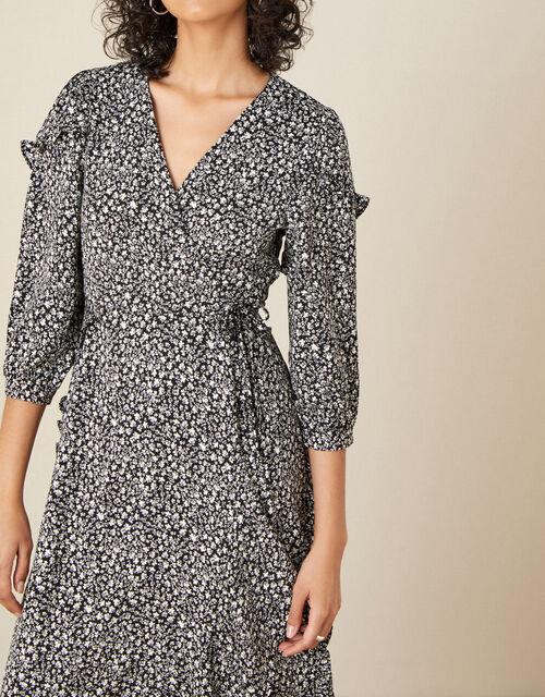 Ditsy Print Midi Dress, Black (BLACK), large