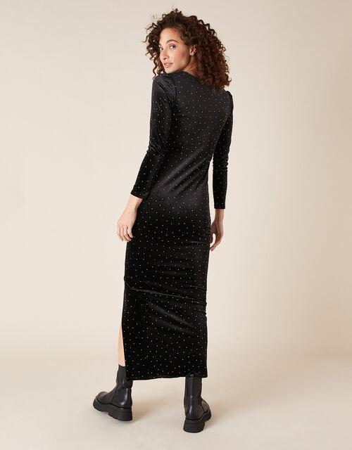 Hattie Heat-Seal Gem Velvet Maxi Dress, Black (BLACK), large