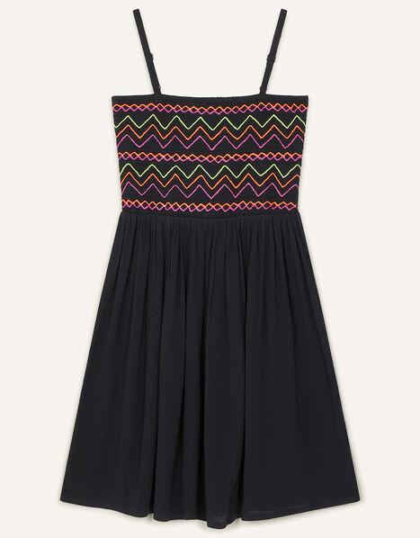 Neon Embroidered Shirred Sundress Black, Black (BLACK), large