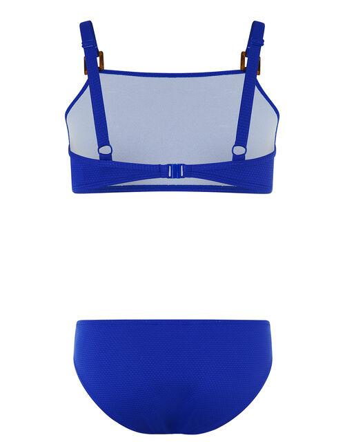 Rhia Square Detail Textured Bikini Set, Blue (BLUE), large