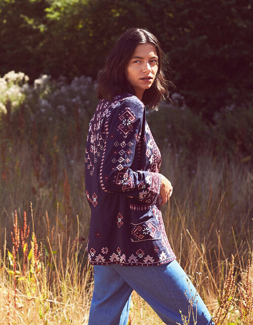 Navy Embroidered Jacket with LENZING™ ECOVERO™, Blue (NAVY), large