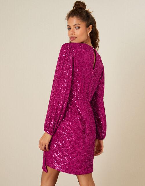 Sasha Sequin Shift Dress, Pink (PINK), large