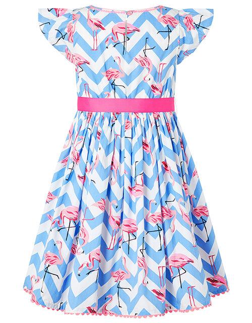 Adrienne Flamingo Dress in Organic Cotton, Blue (BLUE), large