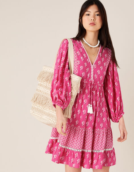 Daisy Print Dress in LENZING™ ECOVERO™ Pink, Pink (PINK), large