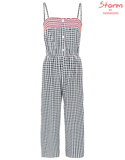 Serena Gingham Wide-Leg Jumpsuit, Black (BLACK), large