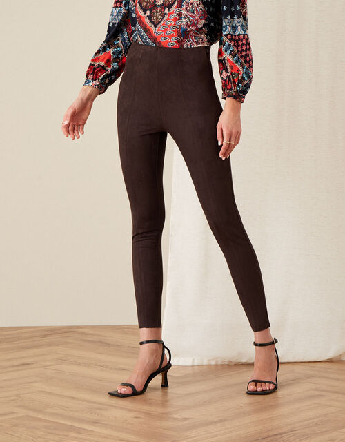 Cecily Suedette Leggings, Brown (CHOCOLATE), large