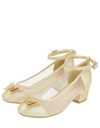 Butterfly Princess Sparkle Heeled Shoes Gold, Gold (GOLD), large