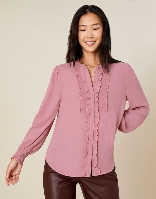 Liliana Frill Long Sleeve Blouse, Pink (BLUSH), large