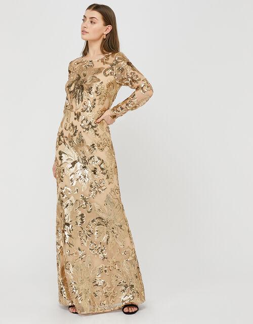 Rose Sequin Maxi Dress Gold Evening Dresses Monsoon Uk