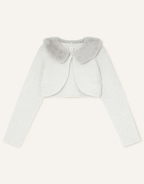 Fluffy Collar Sequin Cardigan Grey, Grey (GREY), large