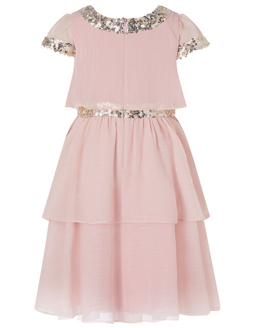 Sequin Chiffon Tiered Dress, Pink (PINK), large