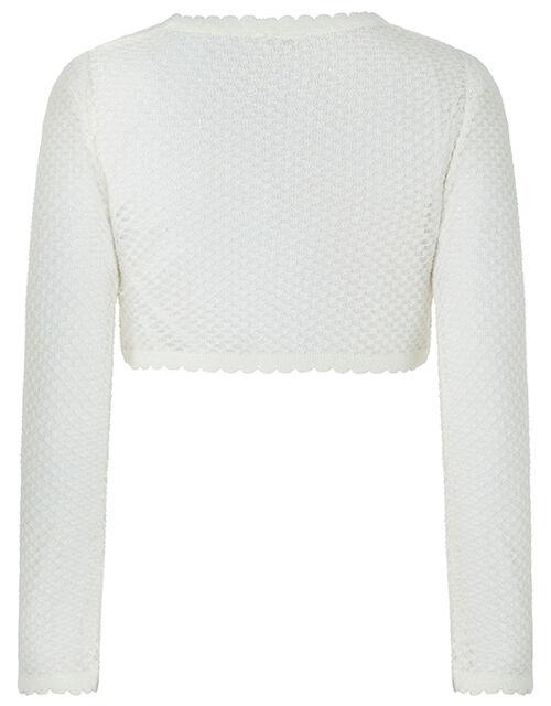 Gracie Shimmer Cropped Cardigan, Ivory (IVORY), large