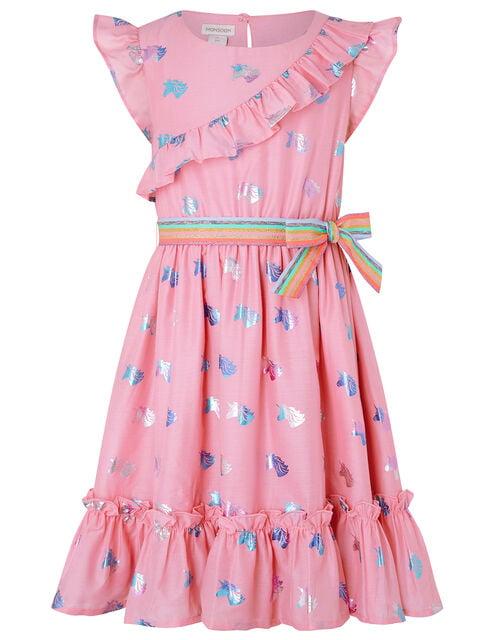 Foil Unicorn Dress with Rainbow Belt, Pink (PINK), large