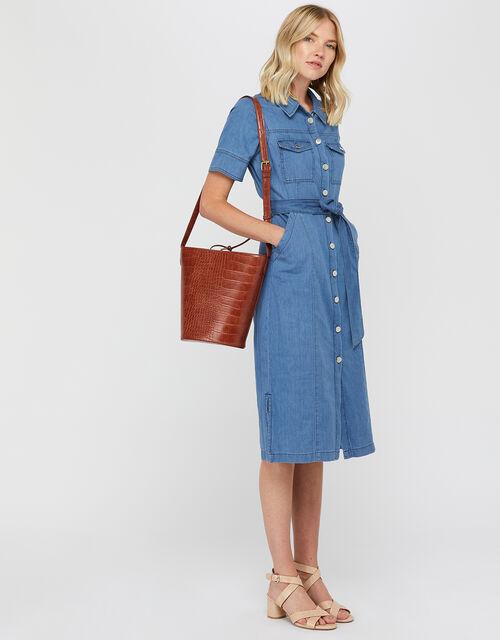 Gerri Denim Midi Dress, Denim Blue, large