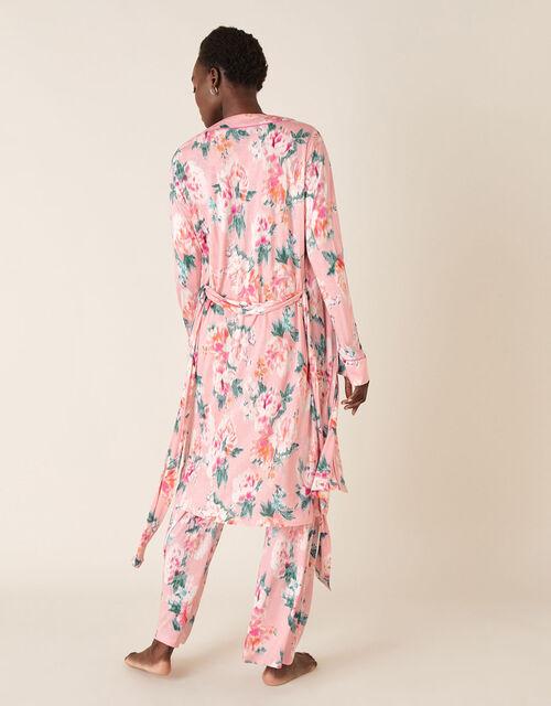 Floral Print Short Jersey Robe, Pink (PINK), large