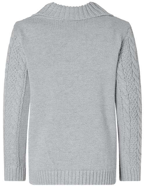 Cable Knit Cardigan, Grey (GREY), large