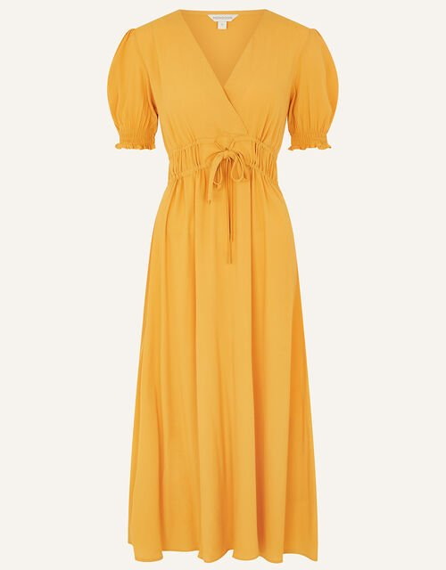 Ruched Midi Dress, Yellow (OCHRE), large