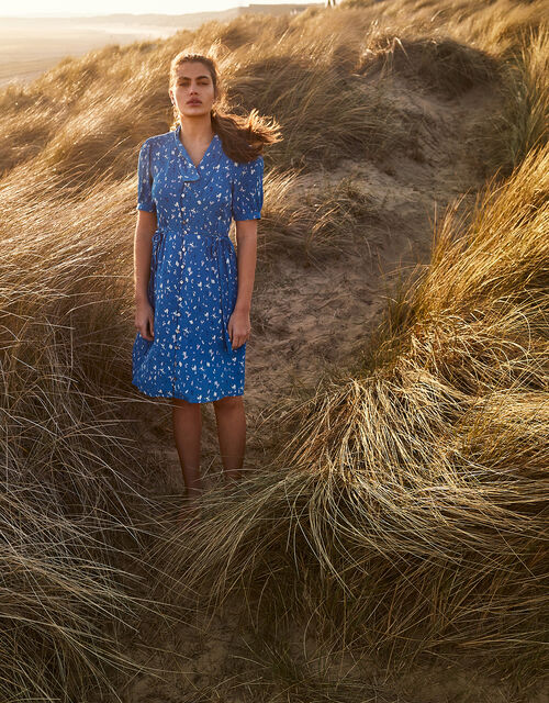 Animal Print Shirt Dress, Blue (COBALT), large