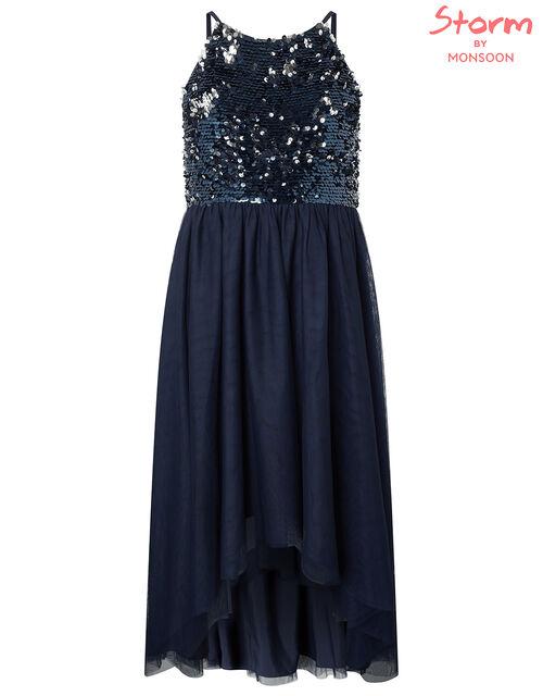 Saskia Reversible Sequin Prom Dress, Blue (NAVY), large