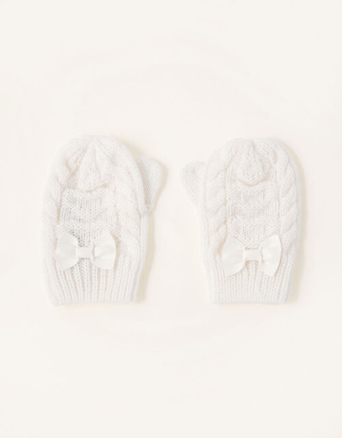 Grace Sparkle Heart Mittens, Ivory (IVORY), large