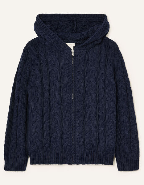 Cable Knit Hoody Blue, Blue (NAVY), large