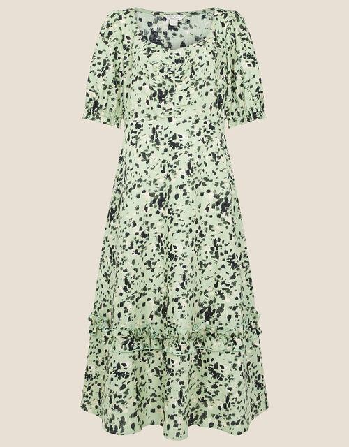 Printed Dress in Linen Blend, Green (KHAKI), large
