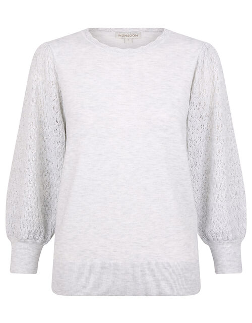 Pointelle Puff Sleeve Knit Jumper, Grey (GREY MARL), large