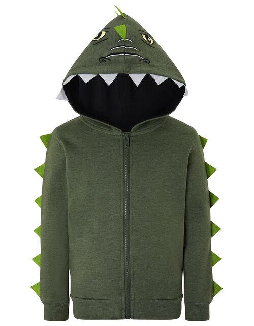 Ryder Zip-Up Dinosaur Hoody, Green (KHAKI), large