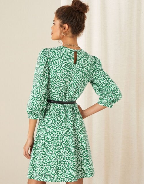 Mona Ditsy Floral Jersey Dress, Green (GREEN), large