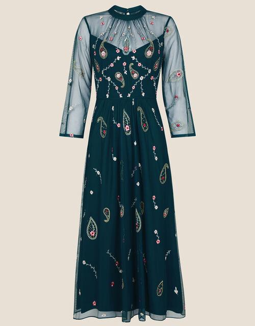Cleo Paisley Print Embroidered Midi Dress, Teal (TEAL), large