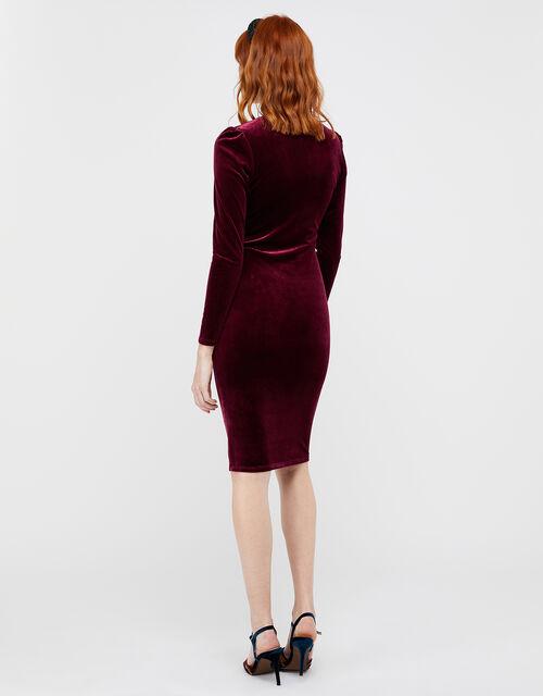 Elle Velvet Dress, Red (BERRY), large