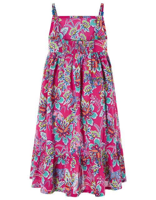Karly Animal and Floral Print Dress in Organic Cotton, Pink (PINK), large
