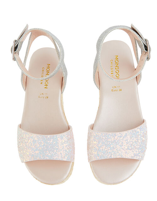 Mermaid Glitter Espadrille Sandals, Silver (SILVER), large