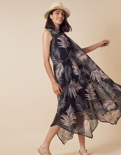 Lola Palm Print Midi Dress in Recycled Fabric, Black (BLACK), large
