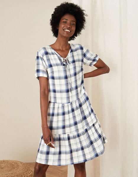 Check Print Tunic Dress Ivory, Ivory (IVORY), large