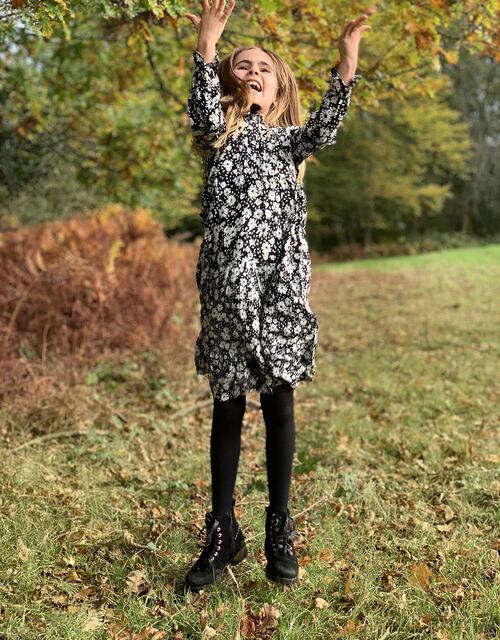EDEN MINI ME FLORAL DRESS IN LENZING™ ECOVERO™, Black (BLACK), large
