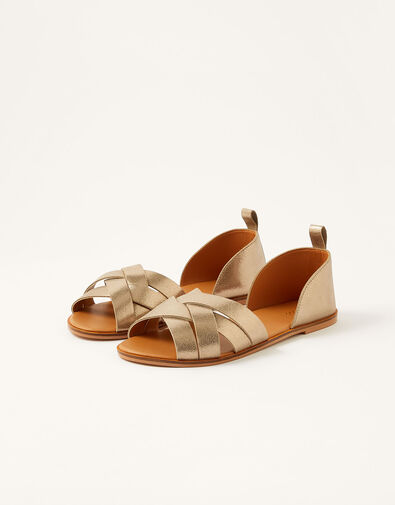 Cross-Over Leather Sandals Gold, Gold (GOLD), large