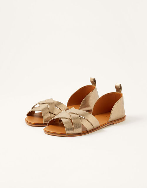Cross-Over Leather Sandals, Gold (GOLD), large
