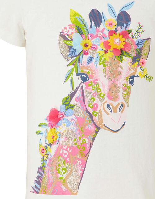Georgia Giraffe Embellished T-Shirt, Ivory (IVORY), large