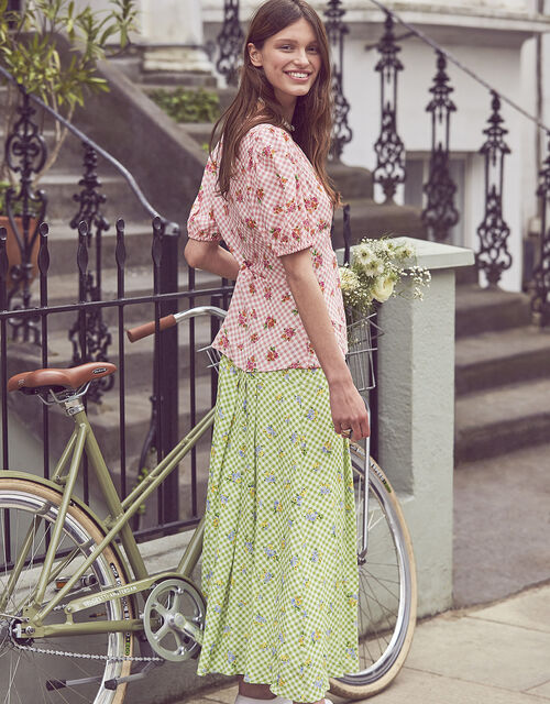 Gabriella Floral and Gingham Skirt, Green (GREEN), large